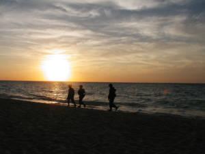Mexikanische Soldaten am Strand