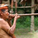 Ein Mitglied des Stammes der Iquitos demonstriert die Verwendung eines Blasrohres - die indigene Bevölkerung kann ihre Territorien im peruanischen Amazonasgebiet ohne staatliche Hilfe kaum schützen | Bild (Ausschnitt): © JialiangGao [Public Domain]  - wikimedia commons